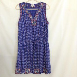 Irving & Fine Lucky Brand Blue Dress Size L Floral